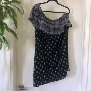 one shoulder ruffle printed dress